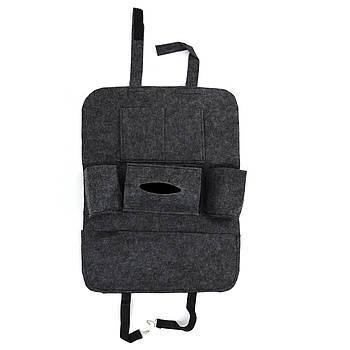 Органайзер на спинку сидіння від забруднення Чорний Повстяний/60*30см NJ-240 (в пакеті)