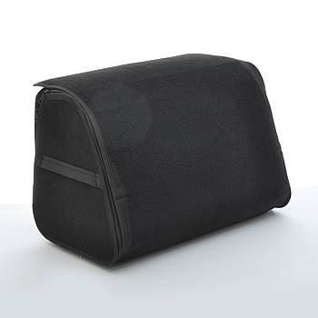Саквояж-органайзер в багажник 400х300х280мм черная ткань Ворс/основа полиэстер/пласт.ручки/липучки