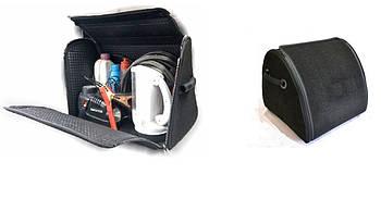 Саквояж-органайзер в багажник 500х300х280мм черная ткань Ворс/основа полиэстер/пласт.ручки/липучки