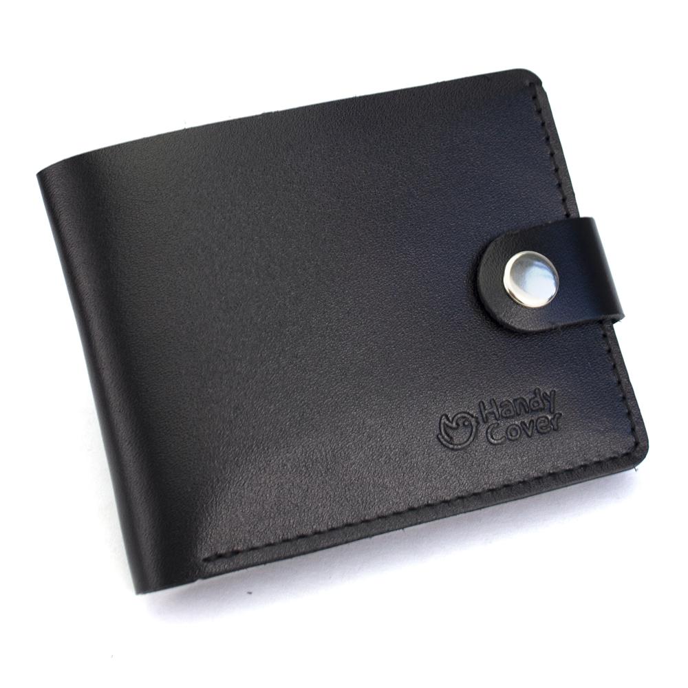 Портмоне мужское кожаное на кнопке Handycover HC0042 черное