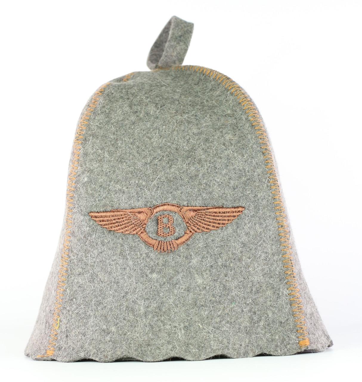 Шапка для сауни з вишивкою 'Bentley (Бентлі)', сіра повсть, Sauna Pro