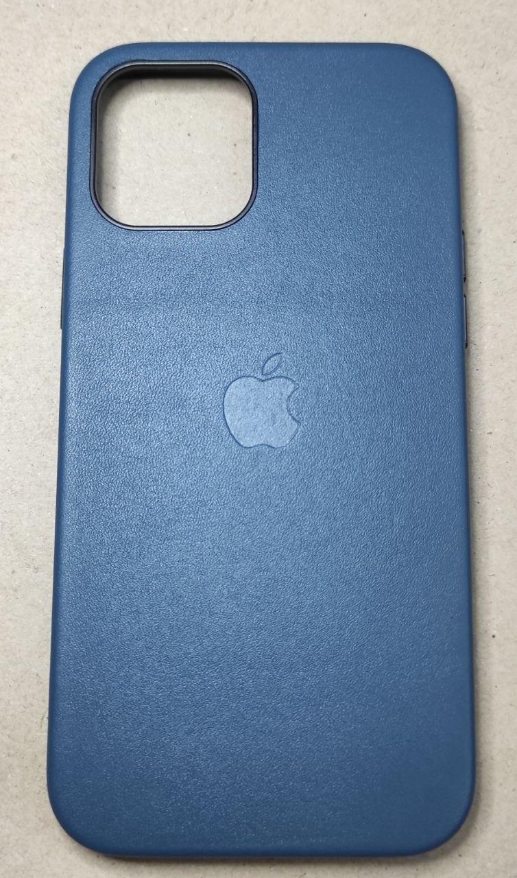 """Кожаный чехол на iPhone 12 Синий"""""""