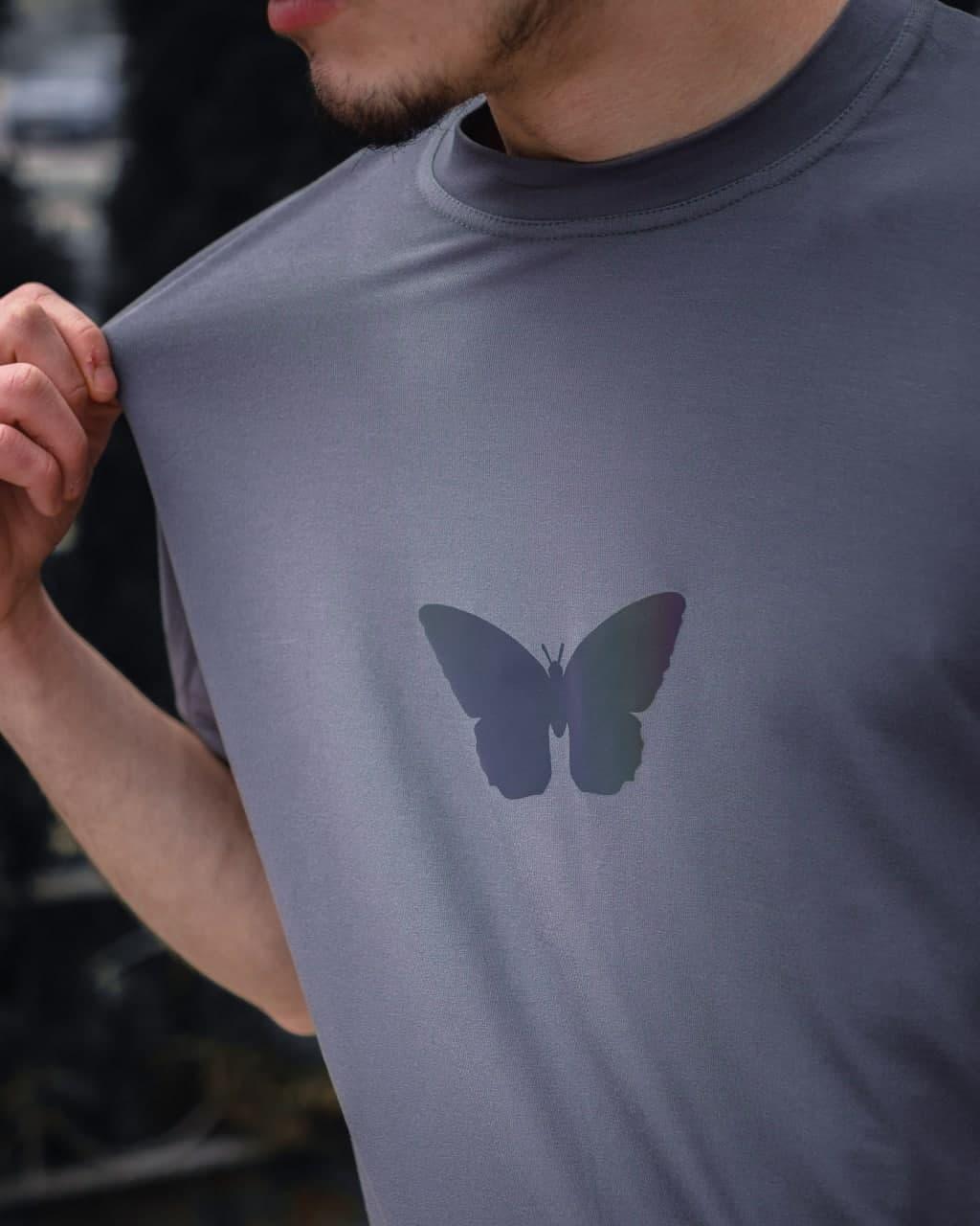 Чоловіча сіра футболка з малюнком бавовна Grey butterfly