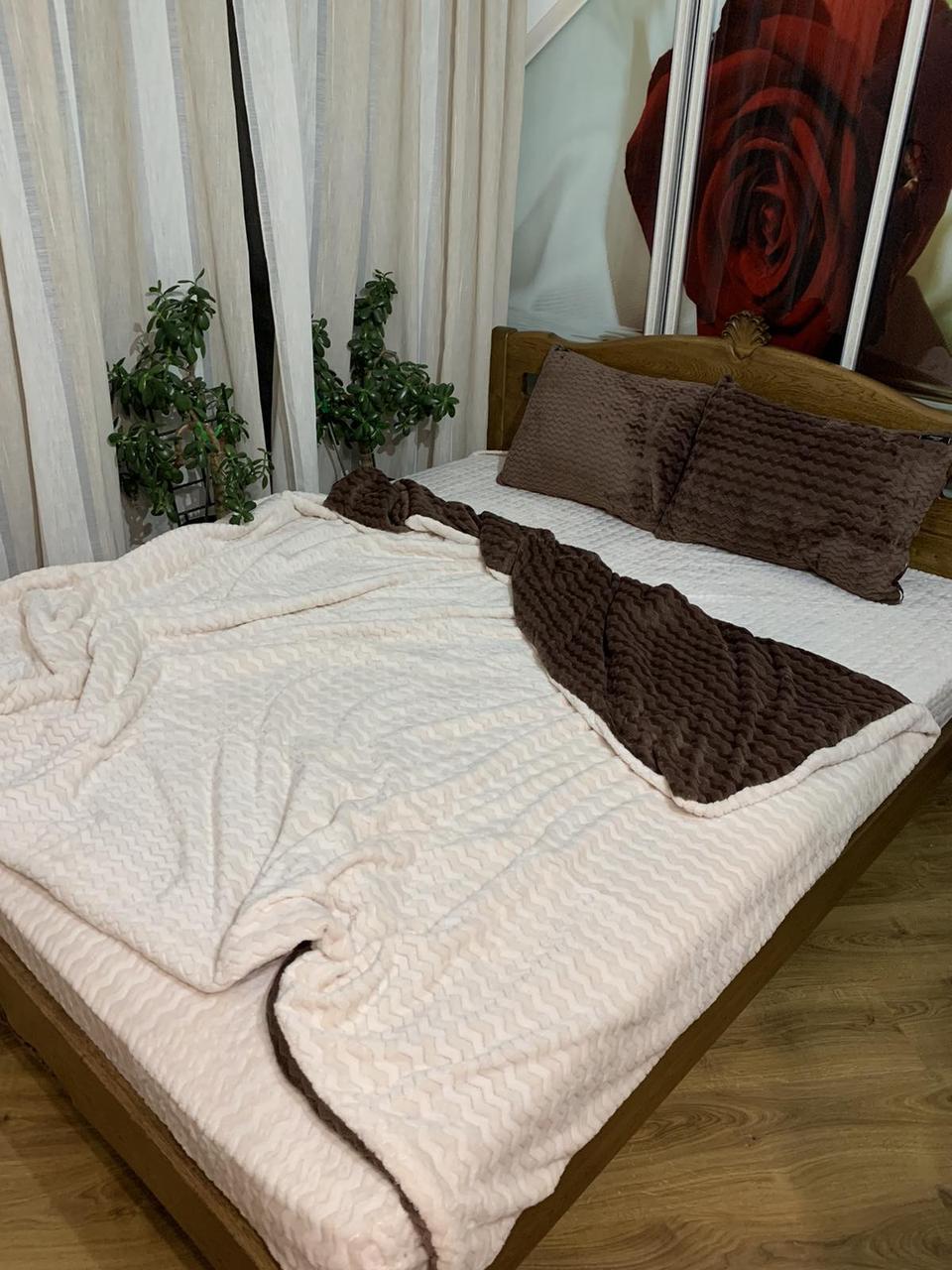 Велюровый Комплект постельного белья  Волна двухсторонний Шоколадно - Бежевый