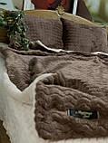 Велюровый Комплект постельного белья  Волна двухсторонний Шоколадно - Бежевый, фото 2