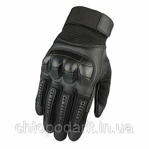 Перчатки мужские тактические спортивные военные штурмовые кожаные черные размер XL код 33-0008