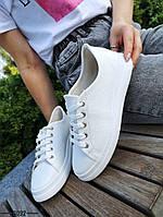 Жіночі шкіряні кеди на шнурівці 36-41 р білий, фото 1