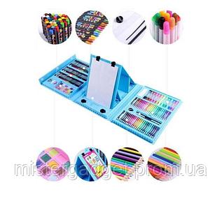 Великий дитячий набір для малювання та творчості на 208 предметів у валізі + мольберт AV блакитний