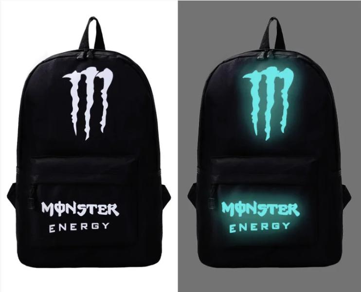 Школьный рюкзак с иллюминацией светящийся принт Monster Energy