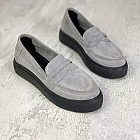Жіночі замшеві туфлі лофери 36-41 р сірий, фото 1