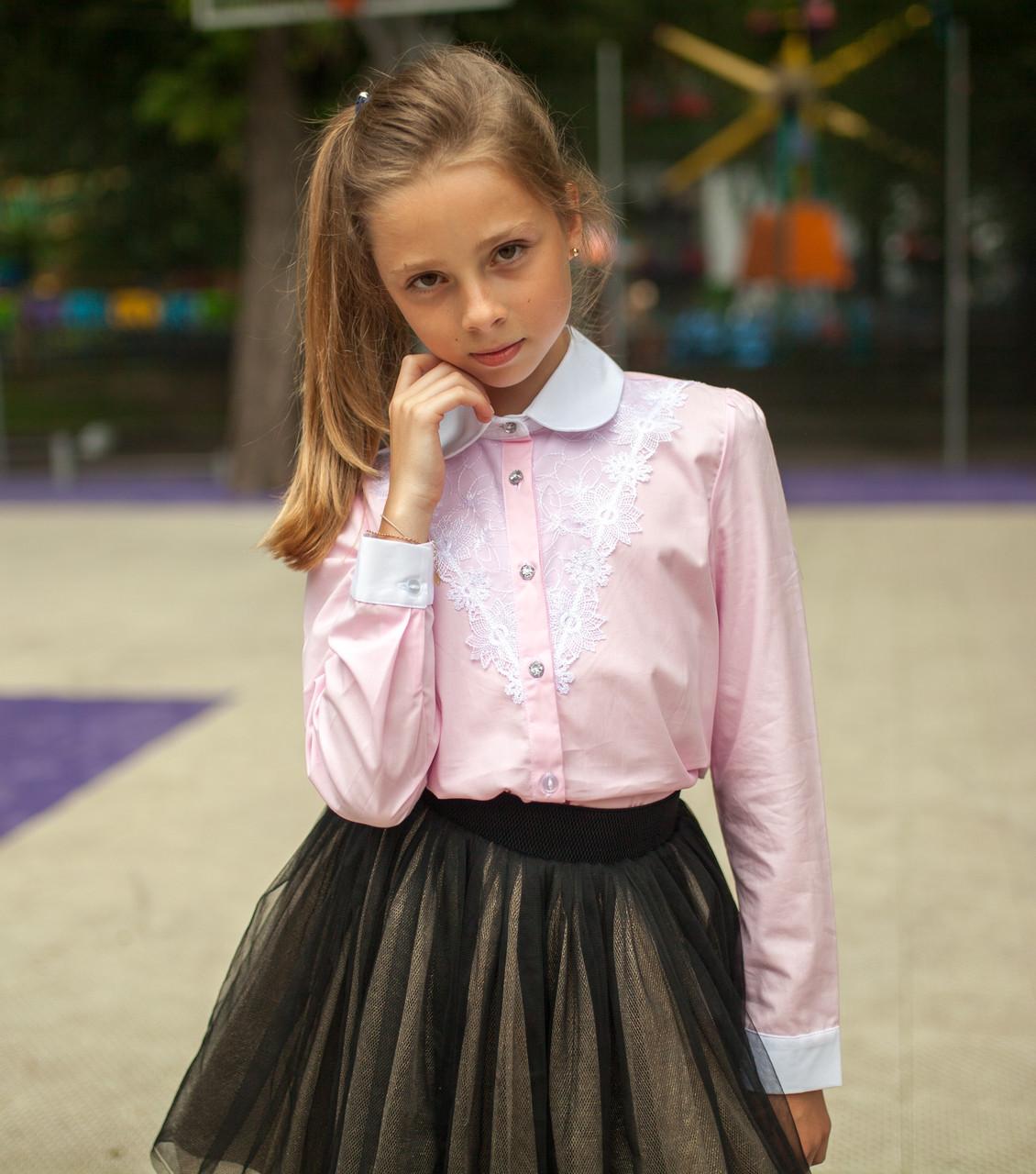 Блузка сорочка Світ блуз рожева мод.5073 р. 128