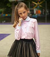 Блузка сорочка Світ блуз рожева мод.5073 р. 128, фото 1
