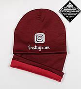 Комплект молодёжный светоотражющий принт Instagram (20208), Бордовый, фото 4
