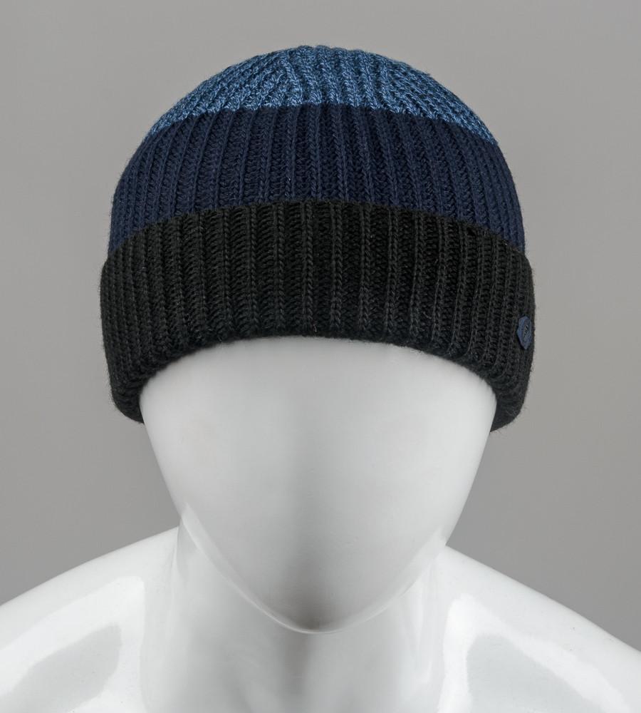 Бесшовная мужская шапка с отворотом на флисе (С2003), Черный+Синий