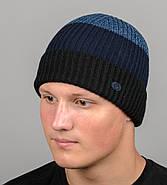 Бесшовная мужская шапка с отворотом на флисе (С2003), Черный+Синий, фото 2