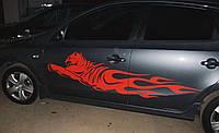 Декалі на кузов авто - Тигр у вогні 40х160 см