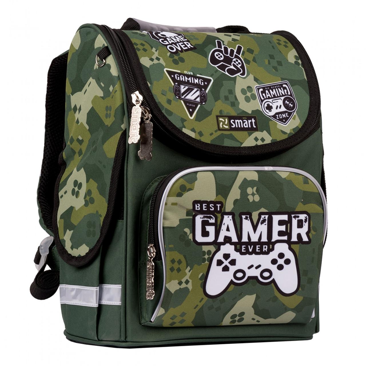 Рюкзак шкільний каркасний SMART PG-11 Best Gamer Зелений (557016)