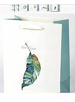Пакет бумажный подарочный с ленточными ручками плотный (32*26*12 см)