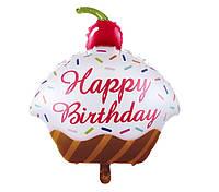 Шар фигурный фольгированный Кексик Happy birthday 68х89 см