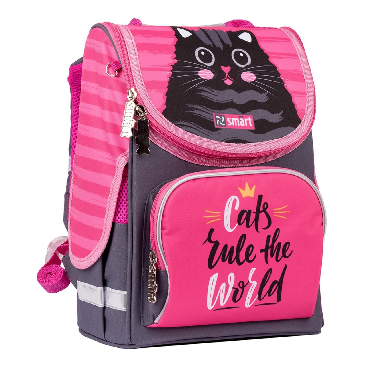 Рюкзак шкільний каркасний SMART PG-11 Cat rules Рожевий/чорний (556515)