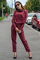 Женский костюм из льна Парламент с пиджаком и брюками с высокой посадкой 42-48 размер разные цвета