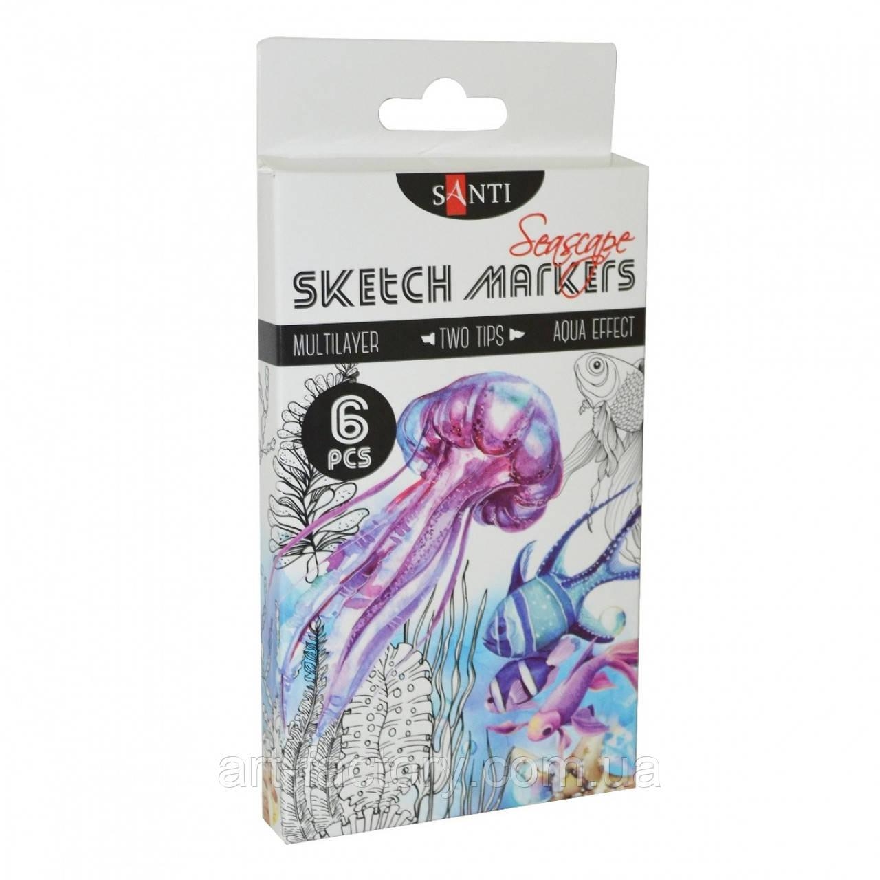 "Набір скетч маркерів SANTI sketch ""Seascape"", 6 шт/уп."