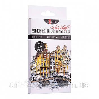 "Набор скетч маркеров SANTI sketch ""Urban Sketch"", 6 шт/уп."