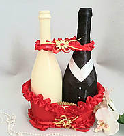 Весільний кошик для шампанського червона