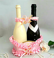Весільний кошик для шампанського рожева