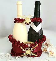 Весільний кошик для шампанського бордовий