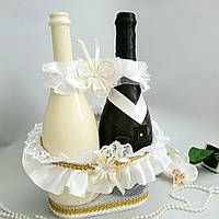 Весільний кошик для шампанського білий