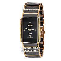 Годинник RADO INTEGRAL CERAMICA DIMONDS Black/Gold Quartz. Репліка: ААА.