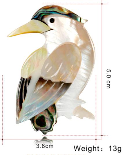 Брошь брошка дятел птица ракушка офигенная