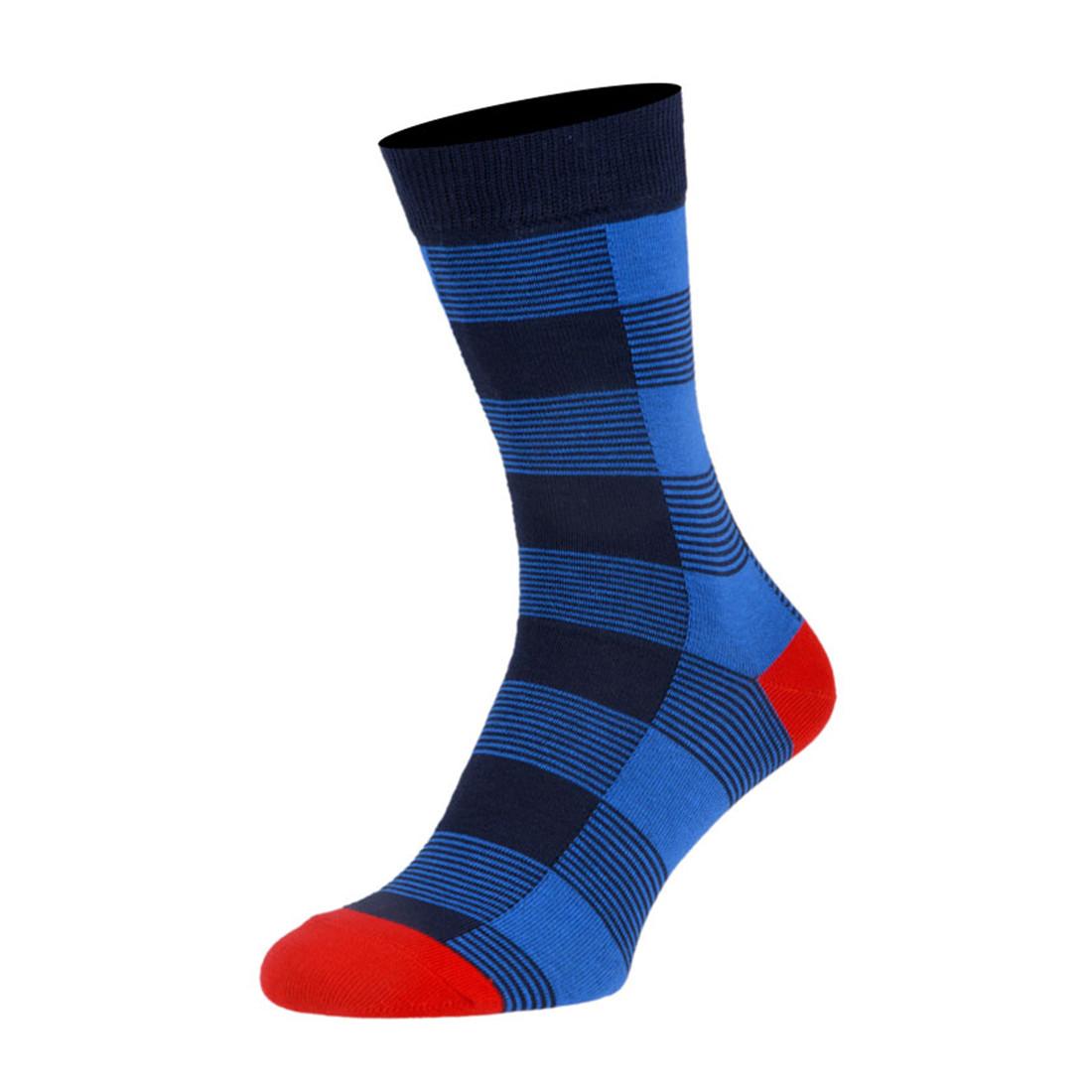 Шкарпетки чоловічі кольорові з бавовни, синя клітинка