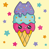 Набор раскраска по контурам Малювалка Вкусненькое мороженое 20х20см ROSA KIDS~#~Набір розмальовка за контурами