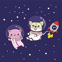 Набор раскраска по контурам Малювалка Космические друзья 20х20см ROSA KIDS~#~Набір розмальовка за контурами