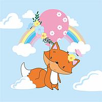 Набор раскраска по контурам Малювалка Лисенок с шариком 20х20см ROSA KIDS~#~Набір розмальовка за контурами