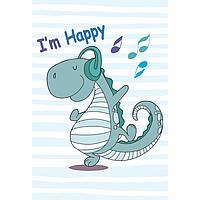 Набор раскраска по контурам Малювалка Счастливый Дино 20х30см ROSA KIDS~#~Набір розмальовка за контурами