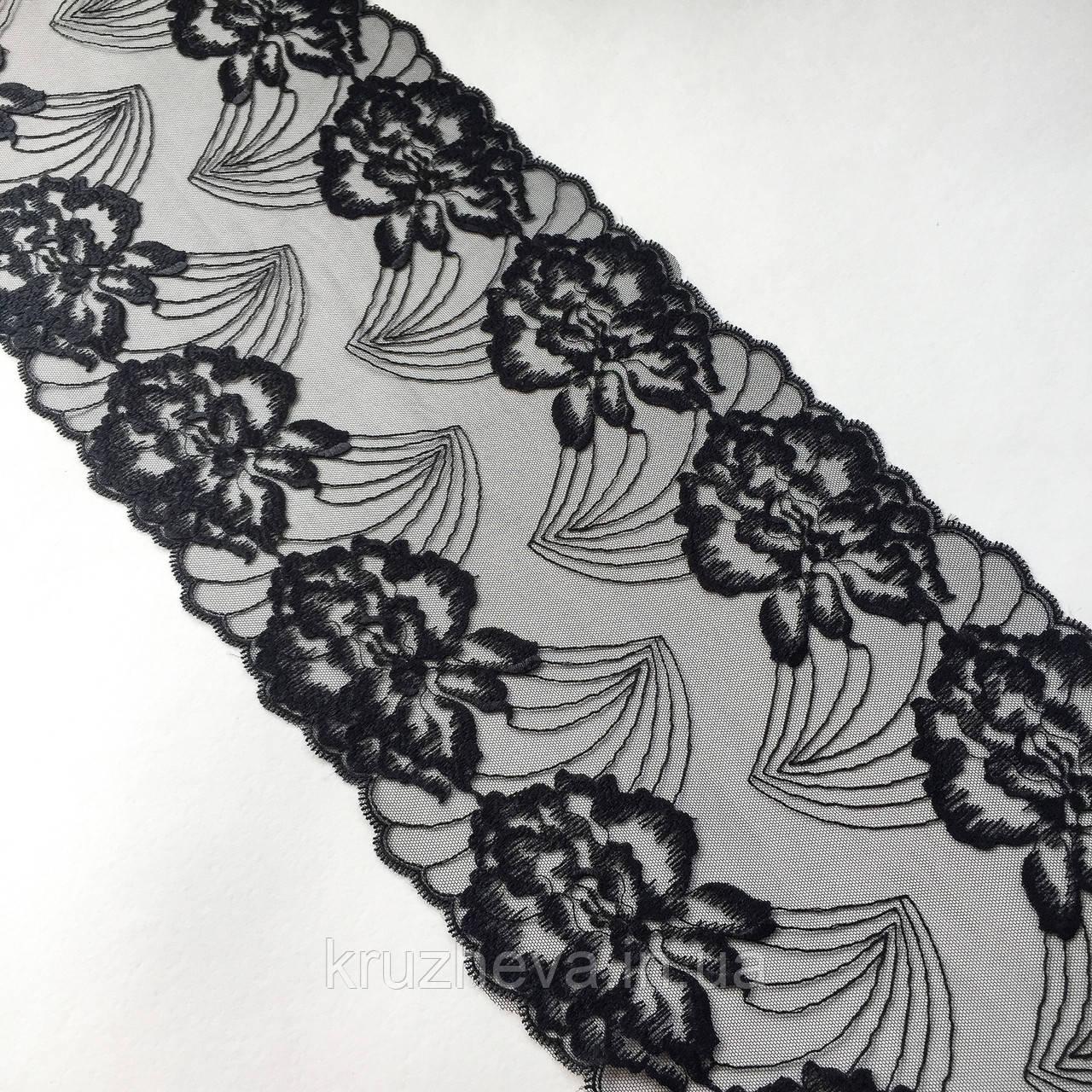 Ажурне мереживо, вишивка на сітці: чорного кольору нитка, чорного кольору сітка, ширина 22 см