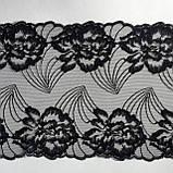 Ажурне мереживо, вишивка на сітці: чорного кольору нитка, чорного кольору сітка, ширина 22 см, фото 3