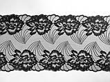 Ажурне мереживо, вишивка на сітці: чорного кольору нитка, чорного кольору сітка, ширина 22 см, фото 5