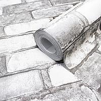 Виниловые обои под кирпич, обои горячего тиснения LS Кирпич серый ЭШТ 6-1358 (1.06х10.05 м)