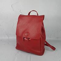 Рюкзак женский кожаный, красный флотар 1697