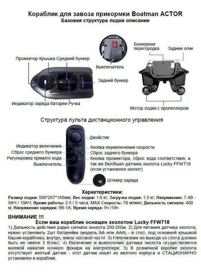 Інструкція користувача короповий підгодовувальний кораблик ACTOR (базова версія)