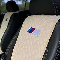 Накидки-чехлы на сиденья авто с вышивкой логотипа БМВ Моторспорт. Передний комплект (из алькантары)