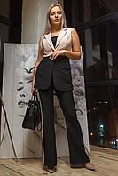 Двухцветный брючный костюм Овация 44-50 размер разные цвета