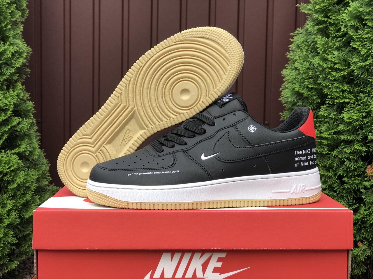 Мужские кроссовки Nike Air Force (черные с бело-красным) качественная хитовая обувь В10647