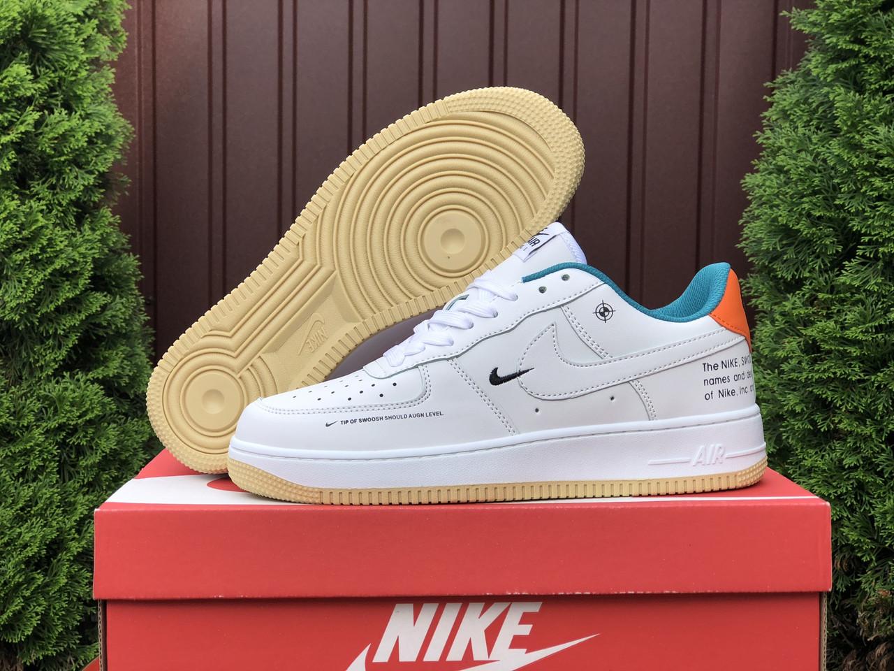 Мужские кроссовки Nike Air Force (белые с оранжевым) бомбовая обувь В10649