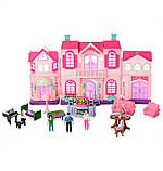 Кукольный домик для кукол игрушечный с мебелью раскладной с фигурками и светом, фото 4