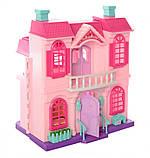 Кукольный домик для кукол игрушечный с мебелью раскладной с фигурками и светом, фото 5